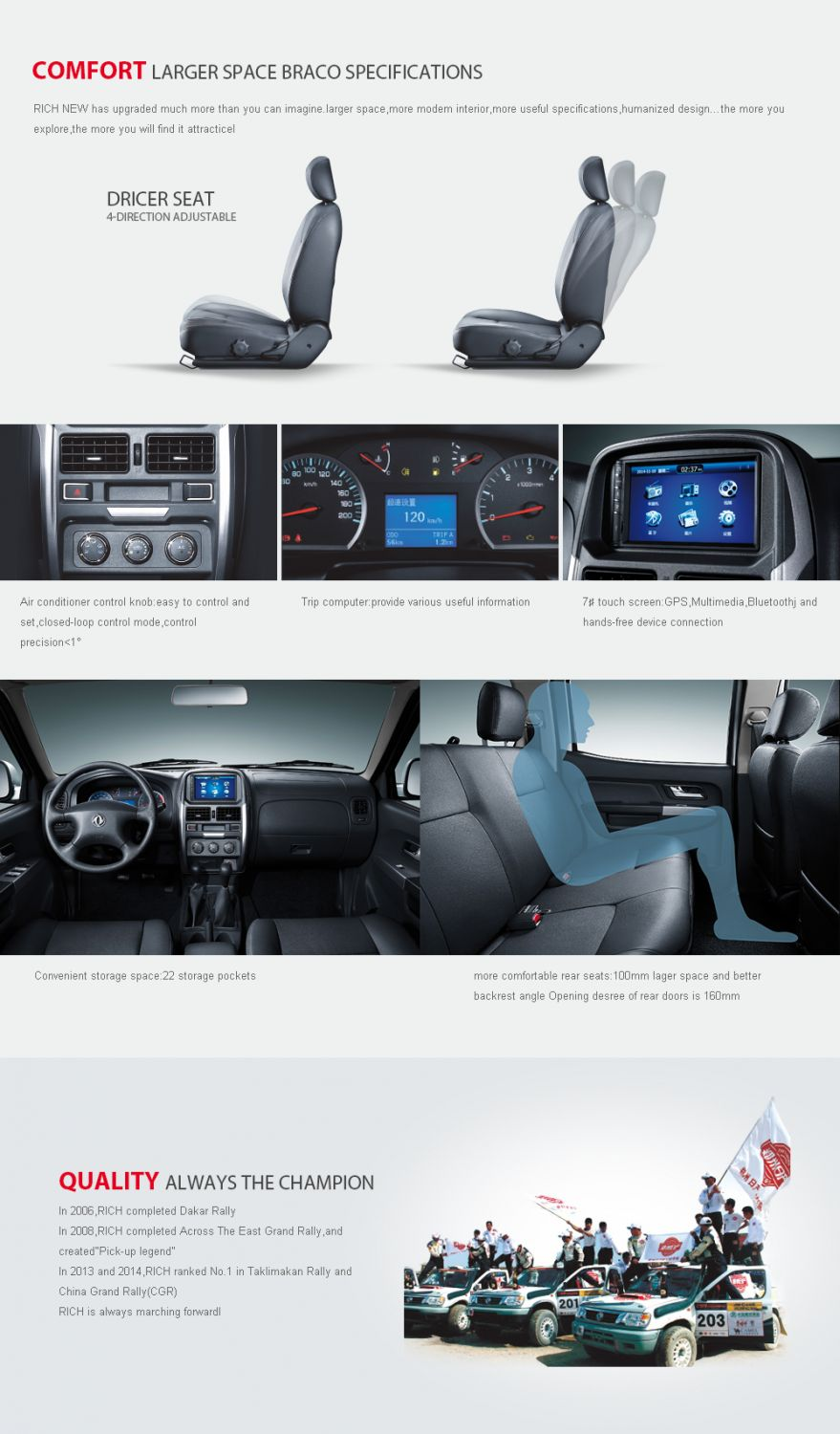 Dongfeng New Rich Pickup Truck Double Cabin